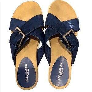 Ilse Jacobsen Navy Crossover Glitter Sandals